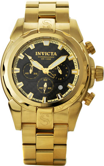 Invicta Stainless Steel 18k Gold Ionic-Plated Speedway Quartz Chronograph Black Dial 1339