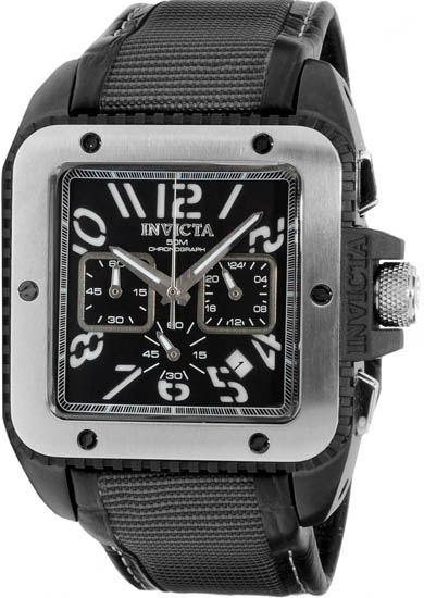 Invicta Black Stainless Steel Chronograph Quartz Square Black Dial Black Strap 1466