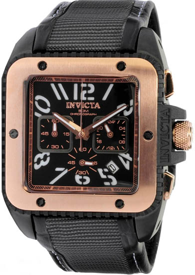 Invicta Rose Gold Stainless Steel Case Chronograph Quartz Square Black Dial Black Strap 1467