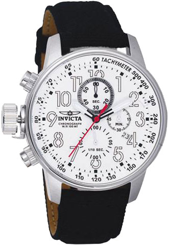 Invicta Stainless Steel Lefty Force Chronograph White Dial Canvas And Leather Strap 1514