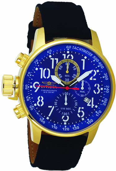 Invicta Gold Tone Lefty Force Chronograph Blue Dial Black Canvas And Leather Strap 1516