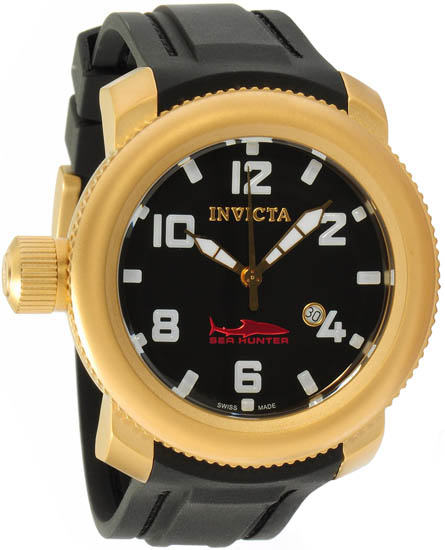 Invicta Gold Tone Stainless Steel Lefty Sea Hunter Swiss Quartz Rubber Strap 1545