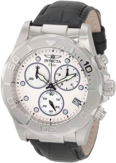 Invicta Elite Quartz Chronograph White Dial Black Leather Strap 1719