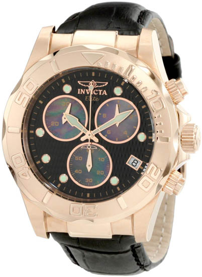 Invicta Rose Gold Tone Elite Quartz Black Dial Strap Mother Of Pearl Chronograph 1723