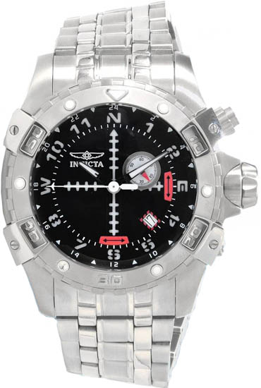 Invicta Stainless Steel Aviator Quartz GMT Black Dial 1742