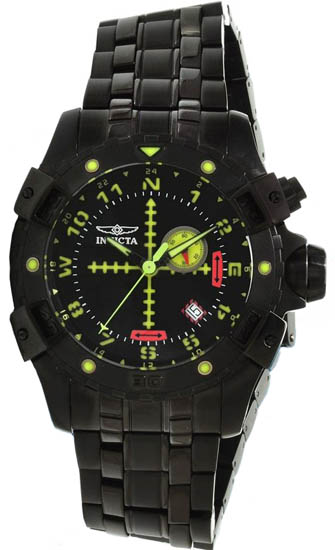 Invicta Black Stainless Steel Aviator Quartz Luminous Chronograph 1743