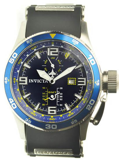 Invicta Stainless Steel Quartz GMT Month Day Blue Dial Rubber Strap 1757