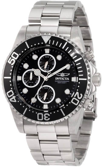 Invicta Stainless Steel Pro DIver Quartz Chronograph Black Dial Bezel 1768