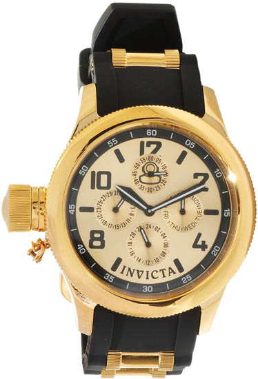 Invicta Russian Diver Quartz Day Date Gold Tone Dial Rubber Strap 1814