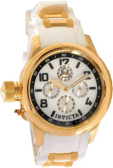 Invicta Gold Tone Russian Diver Quartz Day Date Mother Of Pearl Dial White Strap 1815