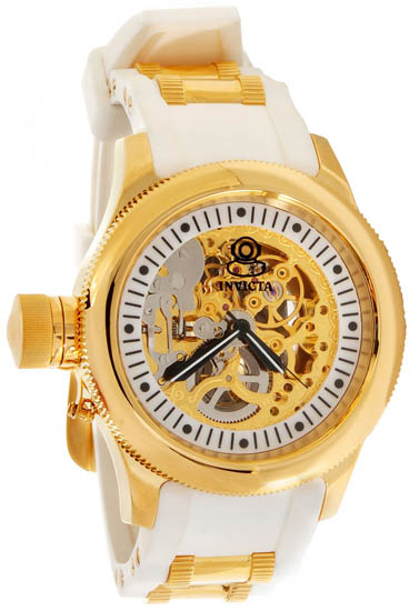 Invicta Gold Tone Russian Diver Skeleton Manual Mechanical White Rubber Strap 1822
