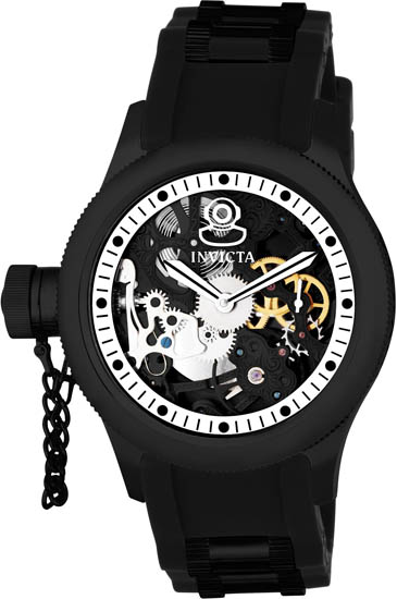 Invicta Black Ceramic Russian Diver Skeleton Mechanical Rubber Strap 1846