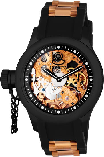 Invicta Russian Diver Skeleton Rose-Gold Dial Manual Mechanical Black Rubber Strap 1847