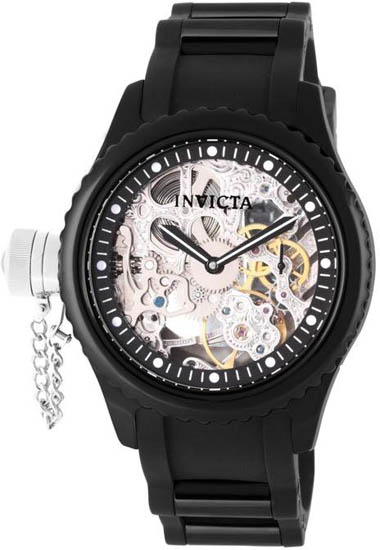 Invicta Black Ceramic Russian Diver Skeleton Mechanical Rubber Strap 1848