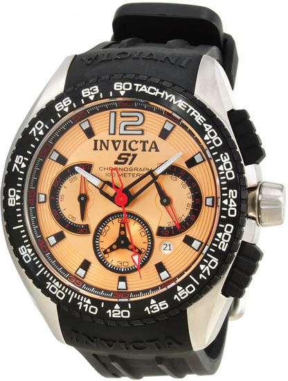 Invicta Stainless Steel S1 Quartz Chronograph Rose Gold Tone Dial Black Rubber 1849