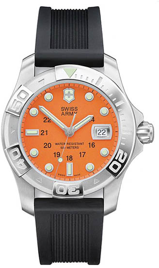 Swiss Army Dive Master Orange Dial Black Rubber Strap 241041