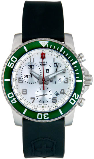 Swiss Army Stainless Steel Maverick Quartz Chronograph Silver Tone Dial Strap Green 241085