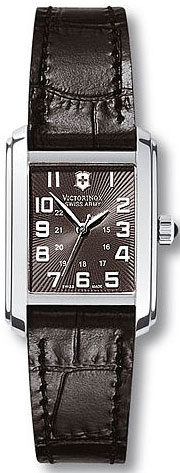 Swiss Army Vivante Rectangle Black Dial Black Leather Strap 241168