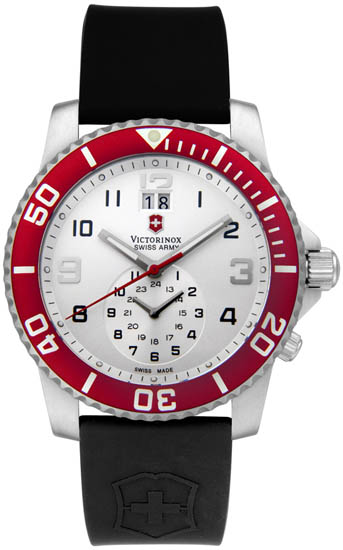 Swiss Army Maverick II Quartz Silver Tone Dial Black Strap Red Bezel Dual Time Zone 241177