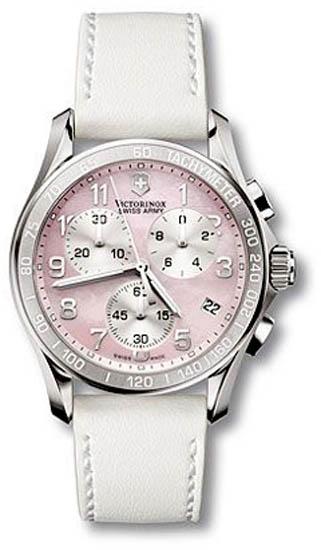 Swiss Army Stainless Steel Classic Pink Mother Of Pearl Dial Chronograph Leather Strap 241257