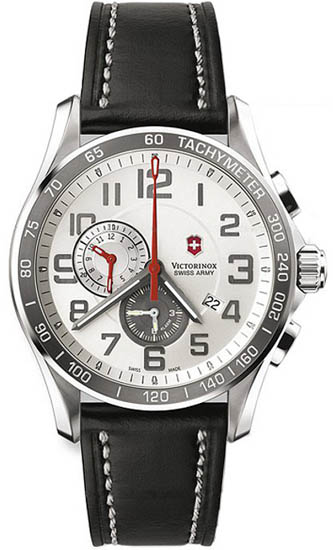 Swiss Army Stainless Steel Classic XLS Silver Tone Dial Chronograph Black Leather Strap 241281