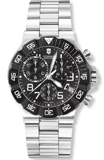 Swiss Army Stainless Steel Summit Chronograph Black Dial Bezel 241337
