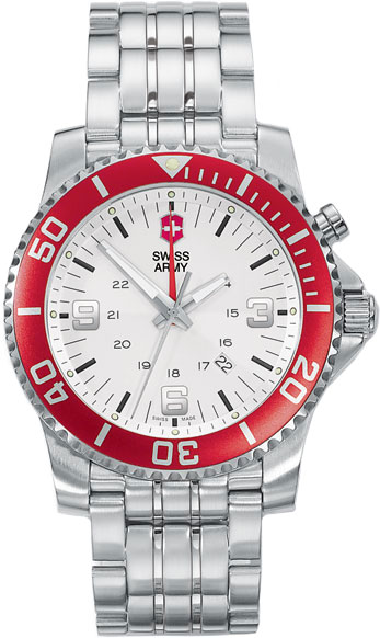 Swiss Army Stainless Steel Maverick Quartz Alarm Silver Tone Dial Red Bezel 24141