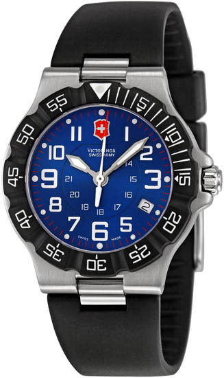 Swiss Army Stainless Steel Summit XLT Blue Dial Black Rubber Strap 241410