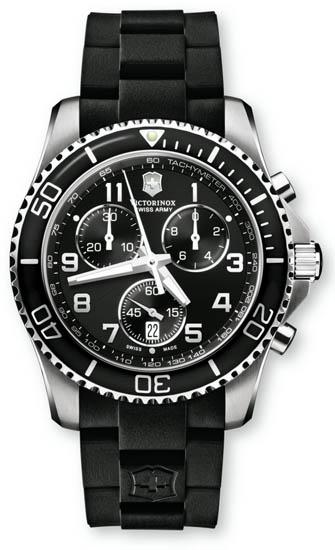 Swiss Army Stainless Steel Victorinox Maverick Chronograph Black Dial Black Rubber Strap 241431