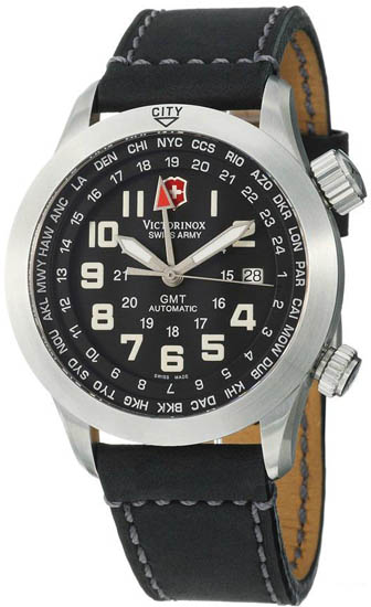 Swiss Army Stainless Steel Airboss Automatic GMT Black Dial Leather Strap 24832