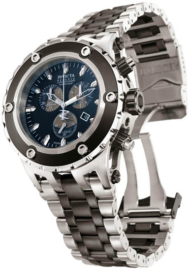 Invicta Black Stainless Steel Reserve Swiss Chronograph Diver 5216