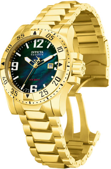 Invicta Gold Tone Stainless Steel Excursion Diver Black Mother Of Pearl Dial 6243