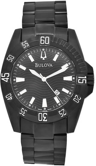 Bulova Black Stainless Steel Accutron Quartz Diver 65B114
