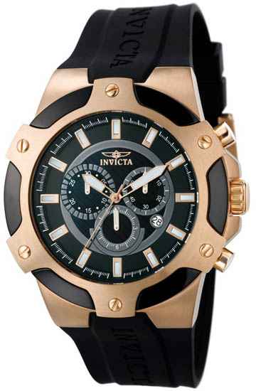 Invicta Rose Gold Tone Stainless Steel Signature Chronograph Black Strap 7344