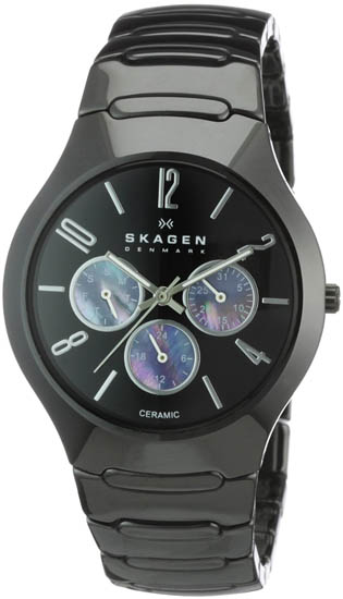 Skagen Ceramic Case and Bracelet Black Dial with Mother of Pearl Sub-Dials at Sears.com