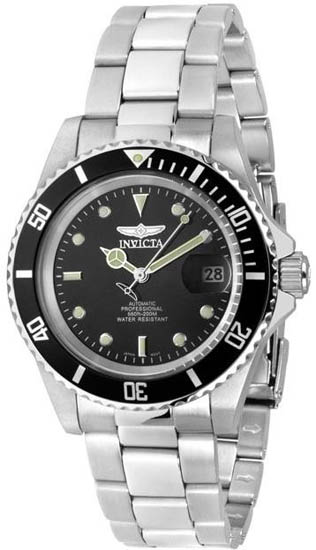 Invicta Stainless Steel Automatic Pro Diver Black Dial Coin-Edge Bezel 8926C