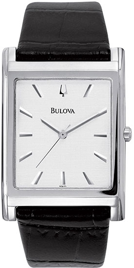 Bulova Stainless Steel Dress Silver Dial Leather Strap 96A23