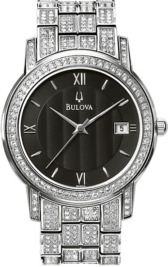 Bulova Stainless Steel Swarovski Crystal Dress Watch 96B011