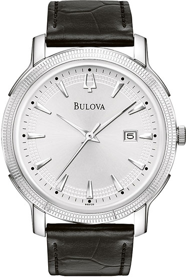 Bulova Stainless Steel Dress Silver Tone Dial Textured 96B120