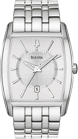Bulova Stainless Steel Dress Silver Dial Link Bracelet Quartz 96B121