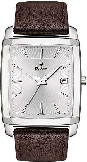 Bulova Stainless Steel Dress Silver Dial Quartz Strap 96B122
