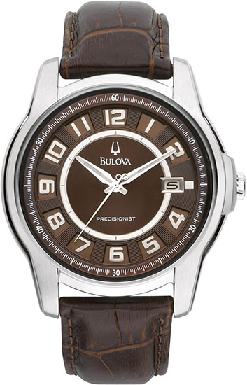 Bulova Stainless Steel Precisionist Claremont Quartz Brown Dial Strap 96B128