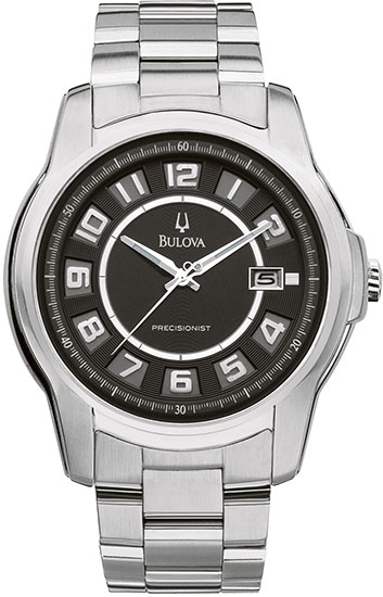 Bulova Stainless Steel Precisionist Claremont Quartz Black Dial 96B129