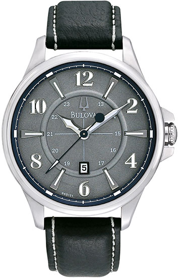 Bulova Stainless Steel Adventurer Quartz Leather Strap 96B151