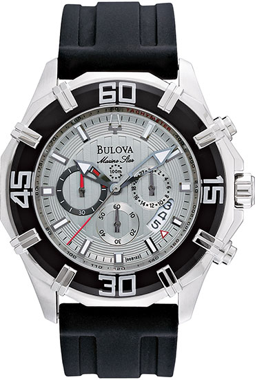 Bulova Stainless Steel Marine Star Rubber Strap Chronograph Quartz 96B152