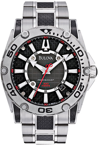 Bulova Stainless Steel Precisionist Quartz Black Carbon Fiber Dial 96B156