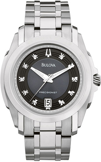 Bulova Stainless Steel Precisionist Longwood Quartz Black Dial Diamonds 96D110