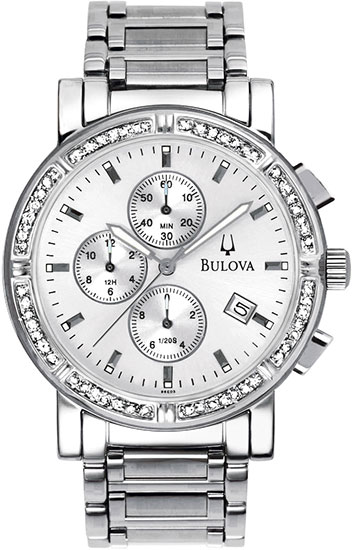 Bulova Stainless Steel Chronograph Silver Dial with Diamonds 96000