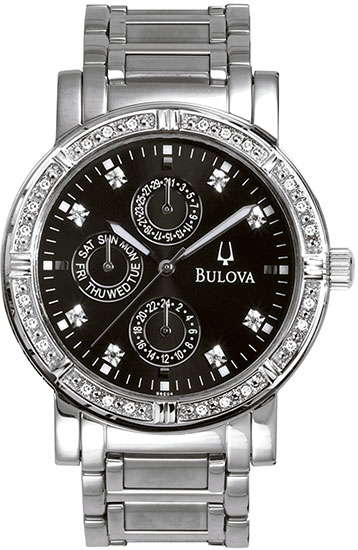 Bulova Stainless Steel Dress Watch Black Dial with Diamonds 960000