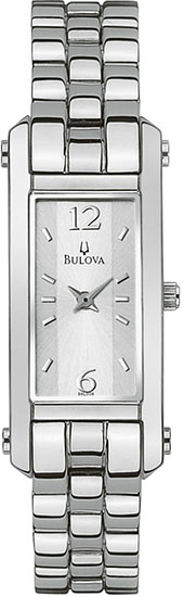 Bulova Stainless Steel Dress Silver Tone Rectangular Dial 96L008